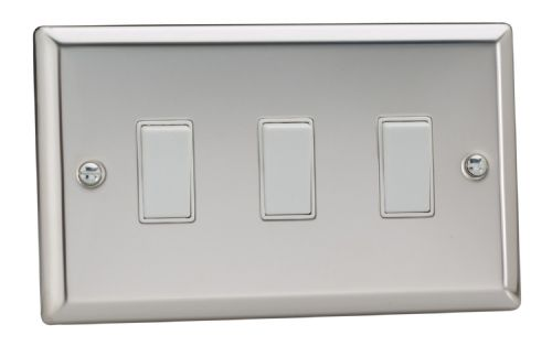 Varilight XC93W Classic Mirror Chrome 3 Gang 10A 1 or 2 Way Rocker Light Switch (Twin Plate)